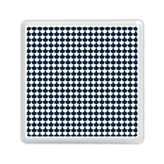 Navy And White Scallop Repeat Pattern Memory Card Reader (square)