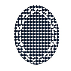 Navy And White Scallop Repeat Pattern Oval Filigree Ornament (2 Side)