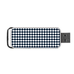 Navy And White Scallop Repeat Pattern Portable Usb Flash (one Side)