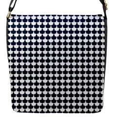 Navy And White Scallop Repeat Pattern Flap Messenger Bag (s)