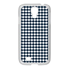 Navy And White Scallop Repeat Pattern Samsung GALAXY S4 I9500/ I9505 Case (White)