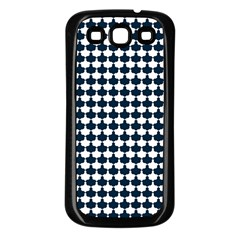 Navy And White Scallop Repeat Pattern Samsung Galaxy S3 Back Case (Black)