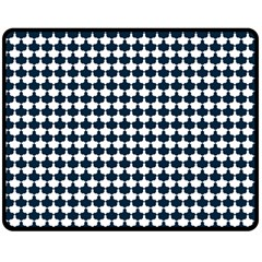 Navy And White Scallop Repeat Pattern Double Sided Fleece Blanket (Medium)