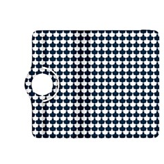 Navy And White Scallop Repeat Pattern Kindle Fire Hdx 8 9  Flip 360 Case
