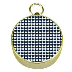 Navy And White Scallop Repeat Pattern Gold Compasses