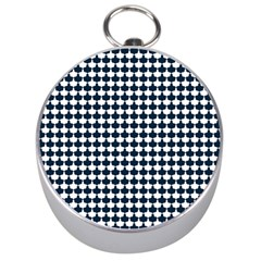 Navy And White Scallop Repeat Pattern Silver Compasses