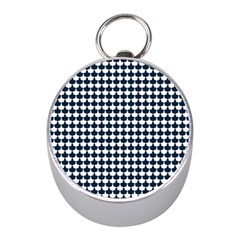 Navy And White Scallop Repeat Pattern Mini Silver Compasses