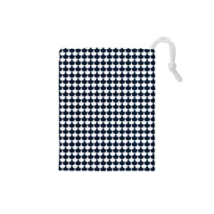 Navy And White Scallop Repeat Pattern Drawstring Pouches (Small)