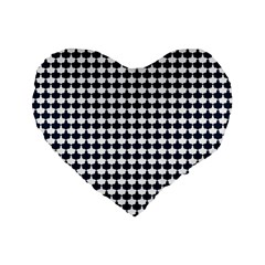 Navy And White Scallop Repeat Pattern Standard 16  Premium Flano Heart Shape Cushions
