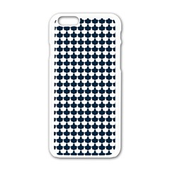 Navy And White Scallop Repeat Pattern Apple Iphone 6/6s White Enamel Case
