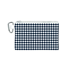 Navy And White Scallop Repeat Pattern Canvas Cosmetic Bag (S)