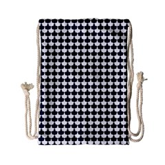 Navy And White Scallop Repeat Pattern Drawstring Bag (small)