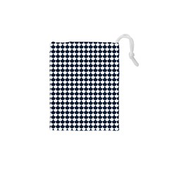 Navy And White Scallop Repeat Pattern Drawstring Pouches (XS)