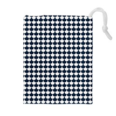 Navy And White Scallop Repeat Pattern Drawstring Pouches (Extra Large)