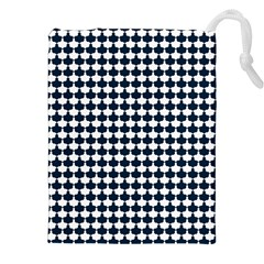 Navy And White Scallop Repeat Pattern Drawstring Pouches (XXL)