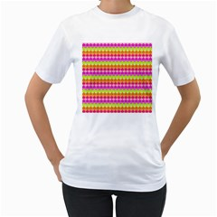 Scallop Pattern Repeat In 'la' Bright Colors Women s T Shirt (white) (two Sided)