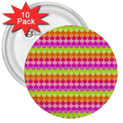 Scallop Pattern Repeat In 'la' Bright Colors 3  Buttons (10 pack)