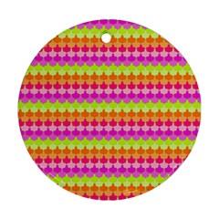 Scallop Pattern Repeat In 'la' Bright Colors Round Ornament (Two Sides)