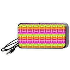 Scallop Pattern Repeat In 'la' Bright Colors Portable Speaker (black)