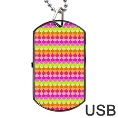 Scallop Pattern Repeat In 'la' Bright Colors Dog Tag USB Flash (Two Sides)