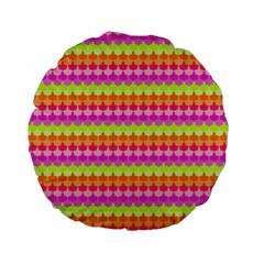Scallop Pattern Repeat In 'la' Bright Colors Standard 15  Premium Flano Round Cushions