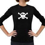 Skull & Crossbones Women s Long Sleeve Dark T-Shirts Front