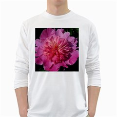 Paeonia Coral White Long Sleeve T Shirts