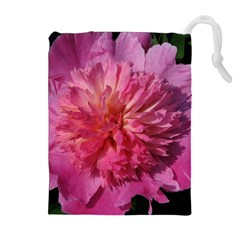 PAEONIA CORAL Drawstring Pouches (Extra Large)