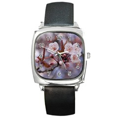 Cherry Blossoms Square Metal Watches