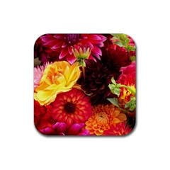 Bunch Of Flowers Rubber Square Coaster (4 Pack)