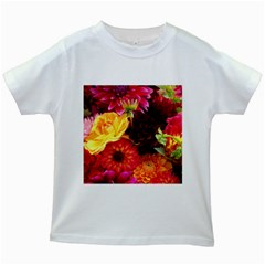 Bunch Of Flowers Kids White T Shirts
