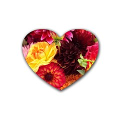 BUNCH OF FLOWERS Rubber Coaster (Heart)