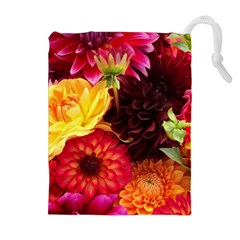 Bunch Of Flowers Drawstring Pouches (extra Large)