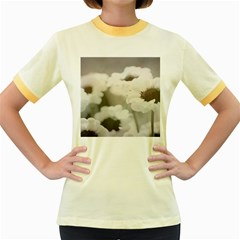 BLACK AND WHITE FLOWER Women s Fitted Ringer T-Shirts