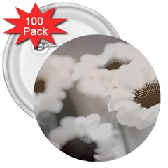 BLACK AND WHITE FLOWER 3  Buttons (100 pack)