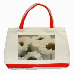 BLACK AND WHITE FLOWER Classic Tote Bag (Red)