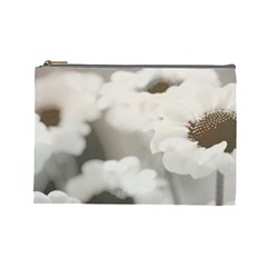 BLACK AND WHITE FLOWER Cosmetic Bag (Large)