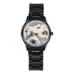 BLACK AND WHITE FLOWER Stainless Steel Round Watches