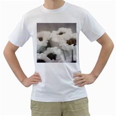 BLACK AND WHITE FLOWER Men s T-Shirt (White)