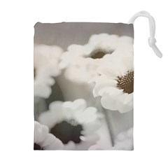 BLACK AND WHITE FLOWER Drawstring Pouches (Extra Large)