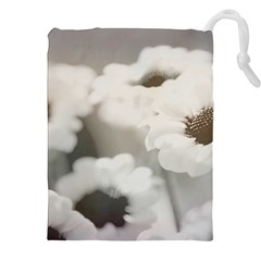 Black And White Flower Drawstring Pouches (xxl)