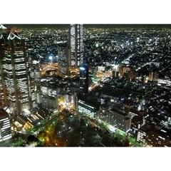 Tokyo Night Birthday Cake 3d Greeting Card (7x5)