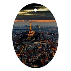 Paris From Above Oval Ornament (two Sides)