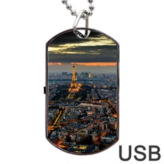 Paris From Above Dog Tag Usb Flash (one Side)