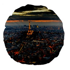 PARIS FROM ABOVE Large 18  Premium Flano Round Cushions