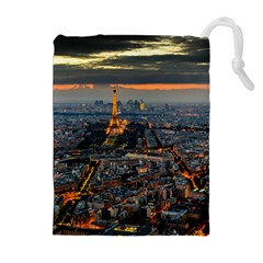 PARIS FROM ABOVE Drawstring Pouches (Extra Large)