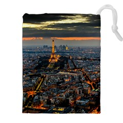 PARIS FROM ABOVE Drawstring Pouches (XXL)