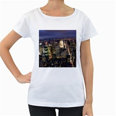 New York 1 Women s Loose Fit T Shirt (white)