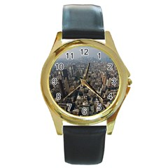 MANHATTAN 2 Round Gold Metal Watches