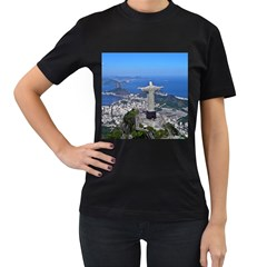 Christ On Corcovado Women s T Shirt (black) (two Sided)